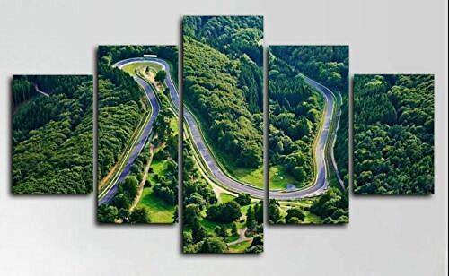 Yoplll Lienzo 5 Piezas Moderno Cuadro En Lienzo 5 Piezas Salón De Hogardecoracion De Pared Circuito De Pista De Nurburgring(Enmarcado)