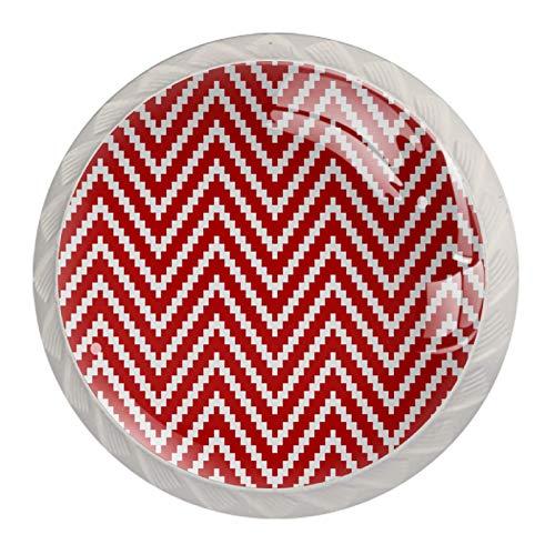 Pomos de cristal de rayas triangulares de color rojo y blanco para cajones de aparador, pomos de cristal para cajones, tiradores de armario, 4 unidades