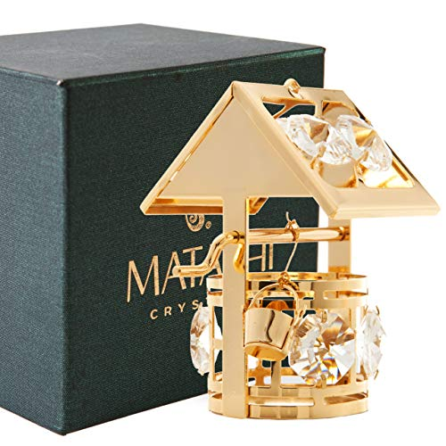 24K Gold Plated Crystal Studded Wishing Well Ornament by Matashi