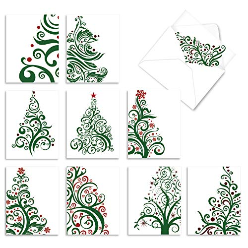 The Best Card Company - 10 Boxed Holiday Cards for Christmas - Fun Assorted Notecard Set, Bulk Variety Pack (4 x 5.12 Inch) - Just Fir You M5019