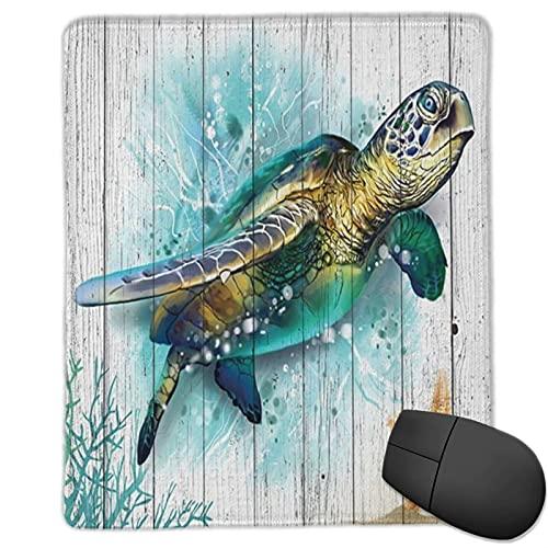 VINISATH Alfombrilla Raton Tortugas de animales marinos Tortuga de mar de ladrillo de acuarela con estrella de mar en tablones de madera rústicos Grunge Alfombrilla Gaming Alfombrilla para computadora