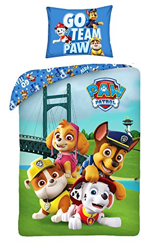 Halantex - Bed Set PAW PATROL Bridge Go Team Paw Duvet Cover 140x200 and Pillow Cover 70x90cm Cotton ORIGINAL