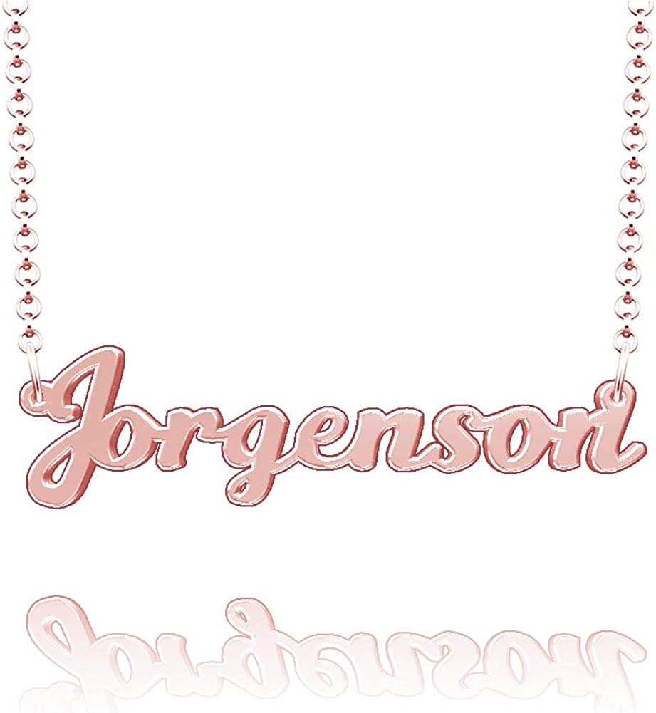 LoEnMe Jewelry Jorgenson Name Necklace Stainless Steel Plated Custom Made of Last Name Personalized Gift for Family
