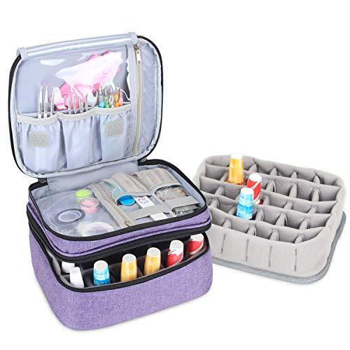 Luxja Nagellack Aufbewahrung Box, Nagellack Tasche, Aufbewahrung für Nagellack-Hält 30 Flaschen (15ml - 0,5 FL.oz), Doppelschicht Aufbewahrungstasche für Nagellacke und Maniküre, Lila