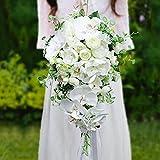 Cuisit Brautstrauß Hochzeit Blumenstrauß Künstlich Seide Pfingstrose und Orchidee Kunstblumen Fallen wie Wasserfälle, Gefälschte Rose Koreanischen Stil Hochzeitsstrauß Weiß und Grün