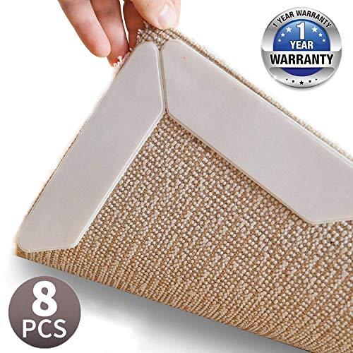 Angolo Tappeto Antiscivolo,12 PCS Upgraded Adesivo Lavabile riutilizzabile Anti-arricciatura e antiscivolo Tappetini Fissa Premium Rug Grippers per angoli e bordi tappeto nero