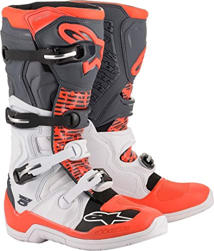 Alpinestars Tech 5 MX Laarzen UK 9 Wit Grijs Rood Fluo