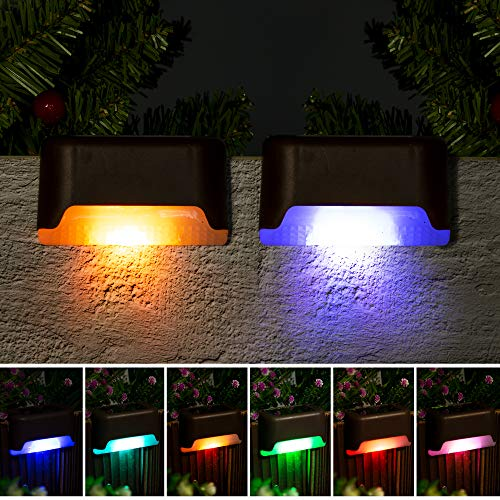Solpex Solar Deck Lights Outdoor, 16 Pack Solar Step Lights Waterproof Led Solar Lights for Outdoor Decks, Stairs, Step , Fence, Yard, and Patio(Color Changing)