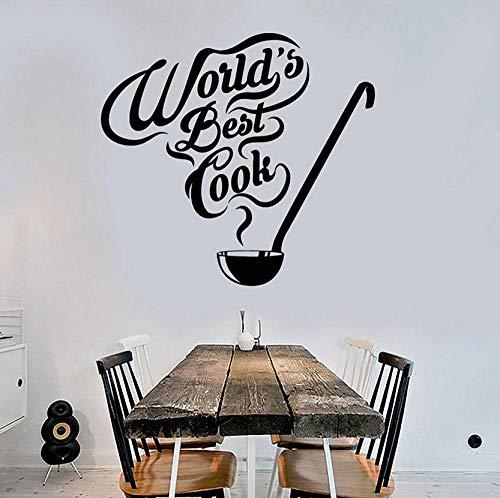 's Werelds Beste Cook Muursticker Keuken Quote Restaurant interieur Decor Chef Coo Vinyl Muurstickers Soeplepel Art Mural 57X61Cm