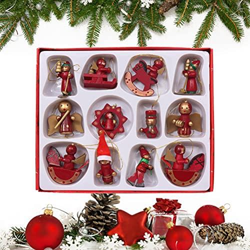 Jxfrice Lot de 12 mini décorations de Noël en bois de qualité supérieure - Calendrier de l'Avent - Père Noël, bonhomme de neige, anges - Petites décorations miniatures vintage à suspendre