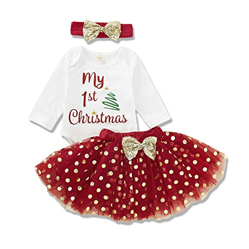 Christmas Newborn Baby Girls Outfits Long Sleeve Romper Letter Bodysuit + Tutu Skirt Fall Winter Clothes (My 1st Christmas+Tree, 3-6 Months)