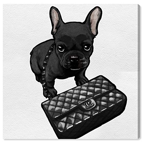 The Oliver Gal Artist Co. Animals Wall Art Canvas Prints 'Classy Frenchie Noir' Home Décor, 30 in x 30 in, Black, White