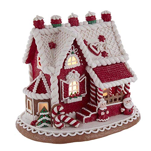 Kurt S. Adler Santa And Mrs. Claus Gingerbread House with LED Light