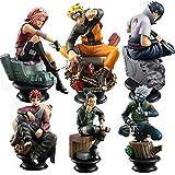 WZFT Juego de 6 figuras de Naruto de ajedrez de PVC anime Naruto Sasuke Gaara Figura Kakashi Figuras de acción Uchiha Decoración colección juguetes