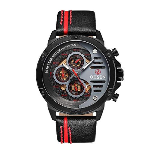 Relógio de pulso de quartzo OHSEN TX2910 luxuoso masculino relógio de quartzo dourado relógio moderno à prova d'água casual para homens de negócios (vermelho)