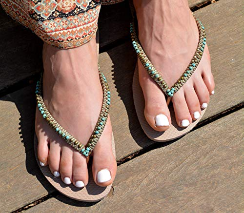 Flip Flops for Women, Boho Hippie Vegan Flat Beaded Sandals, Handmade Shoes, Turquoise & Bronze, Size 5-12