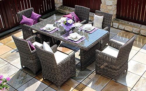 baidani Salon de Jardin Boite 10 a00016 Designer essgruppe Essence, 1 Table en rotin avec Plateau en Verre, 6 chaises avec accoudoirs et Coussin Marron Chiné Gris