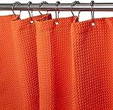 Lusun Duschvorhang, Textil Anti-Schimmel & wasserdicht verdickter Duschvorhang, mit 12 Duschvorhangringen (Waffel - Orange(6))