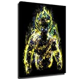Home Decor Print Oil Painting on Canvas Wall Art Poster Soul of Goku Dragon Ball Super Anime (Framed,24x32inch)