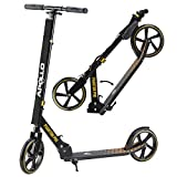 Apollo XXL Wheel Scooter - Phantom Pro City Scooter, Foldable Street Scooter, Height Adjustable Handle, 2 Big Wheels, Kick Scooter for Adults and Children, 220lbs Capacity - Gold