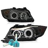 VIPMOTOZ LED Halo Ring Chrome Smoke Projector Headlight Lamp Assembly For 2006-2008 BMW E90 E91 3-Series...