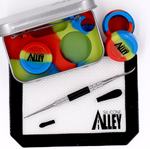 """Wax Carving Travel Kit - [EMBLAZIN Series] Nonstick Tin [Fits in Pocket] with Silicone Jar Containers 5ml (2 Units) + Stainless Steel Carving Tool (1) + Mini Carver (1) + Wax Mat 3"""" x 5"""" (1)"""