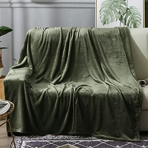BEAUTEX Fleece Throw Blanket for Couch Sofa or Bed Throw Size, Soft Fuzzy Plush Blanket, Luxury Flannel Lap Blanket, Super Cozy and Comfy for All Seasons (Olive Green, 50' x 60')