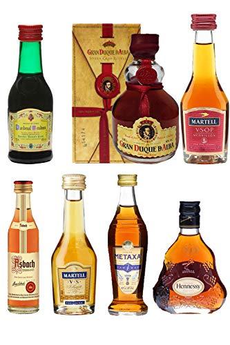 Weinbrand und Cognac Probierset 6 Minis