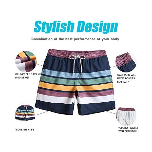MaaMgic 7″ Swim Shorts Mens Quick Dry Swim Trunks with Mesh Lining Teen Funny Print Swimwear Swimsuit
