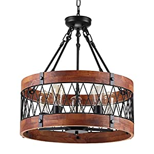 Insfashble Round Wood Metal Chandelier , Modern Farmhouse Chandelier, Farm Circular Antique for Kitchens, Churchs, Cafes, Restaurants, Bars and Hotels, Five Lights