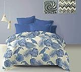 CottonHouse Trapuntino copriletto boutis Primaverile Matrimoniale in Morbida Microfibra Mirtilla - Disegno Tucano Tropicale, acquarello (Blu, 2 Piazze)