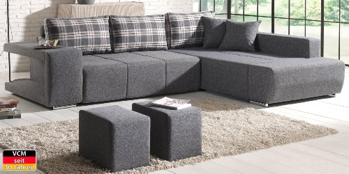 VCM Sofa Couch Ecksofa 280 x 114 x 218 cm x 82 cm Schaumstoff / Mikrofaser