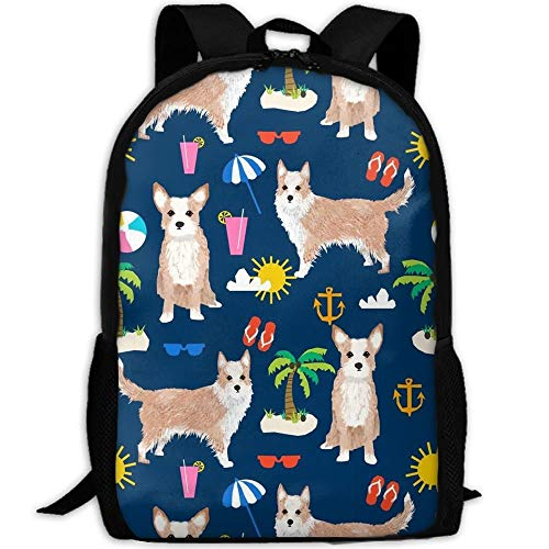 TTmom Zaini/Zaino Casual,Borse a Zainetto, Portuguese Podengo Dog School Backpack BookBag For College Travel Hiking Fit Laptop Water Resistant