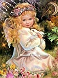 DIY 5D Diamond Painting Painting Little Angel Girl Kits, Painting Cross Stitch Full Drill Crystal Rhinestone Embroidery Pictures Arts Craft for Home Wall Decor Gift