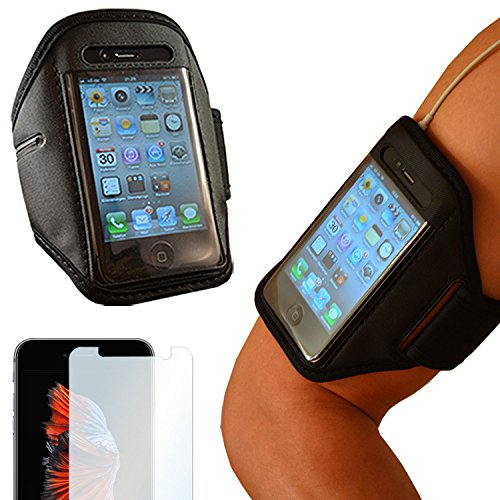 EximMobile - Sportarmband + Folie für HTC One (M9) | Universelles Fitnessarmband passend für Displays bis zu 5,5 Zoll (L) | Handyarmband Laufen | Sportband schwarz | Armband | Oberarmtasche Joggen
