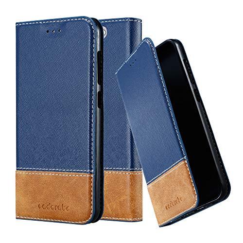Cadorabo Hülle für HTC One A9 - Hülle in DUNKEL BLAU BRAUN – Handyhülle mit Standfunktion & Kartenfach aus Einer Kunstlederkombi - Hülle Cover Schutzhülle Etui Tasche Book