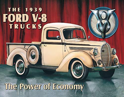 "Desperate Enterprises Ford V-8 Trucks - 1939 Tin Sign, 16"" W x 12.5"" H"