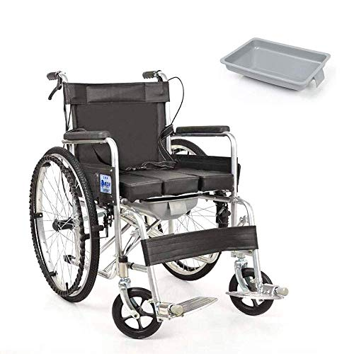 LIMEI-ZEN Foldable Wheelchair - Ultra Lightweight Transport Chair with Ergonomic Armrest; Lifting Leg Support - Commode for Disabled; Elderly Transport Wheelchair