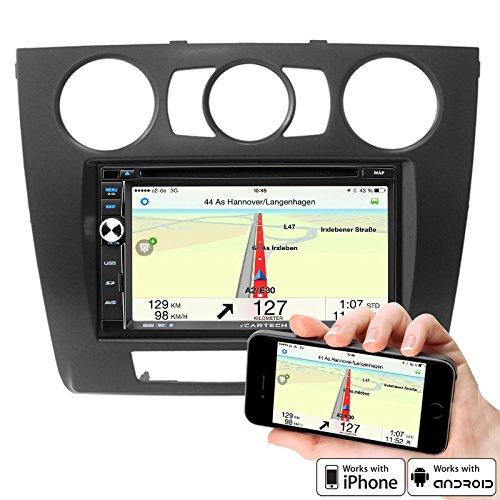 """7"""" Highspeed-Navigations-Autoradio für BMW 1er mit manu. Klima von ICARTECH - ultraschneller 1.2 GHz Cortex A9 Prozessor – Lenkradsteuerungsübernahme - Externes Mikrofon GRATIS – GPS Navigation + TMC Ready mit Europakartenmaterial -– Premium Bluetooth: Telefonbuch, Freisprecheinrichtung, A2DP Musikstreaming – DVD/CD/USB/SD – DAB+ Digital Radio Ready, DVB-T Digitalfernsehen Ready und DVR Kamera Ready (Blackbox -Videoaufzeichnung)- Aurora 2 der offizielle Nachfolger des GX630N"""