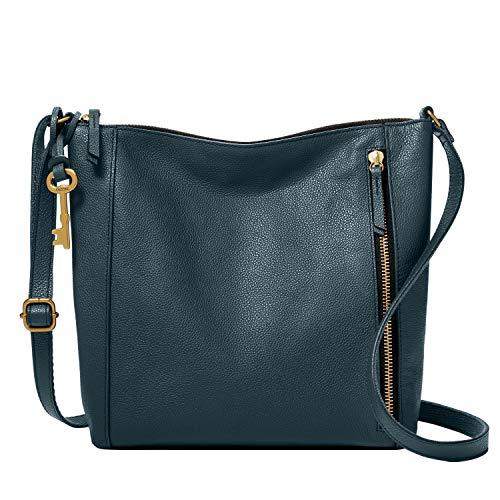 Fossil Women's Tara Leather Crossbody Purse Handbag, Vintage Indigo