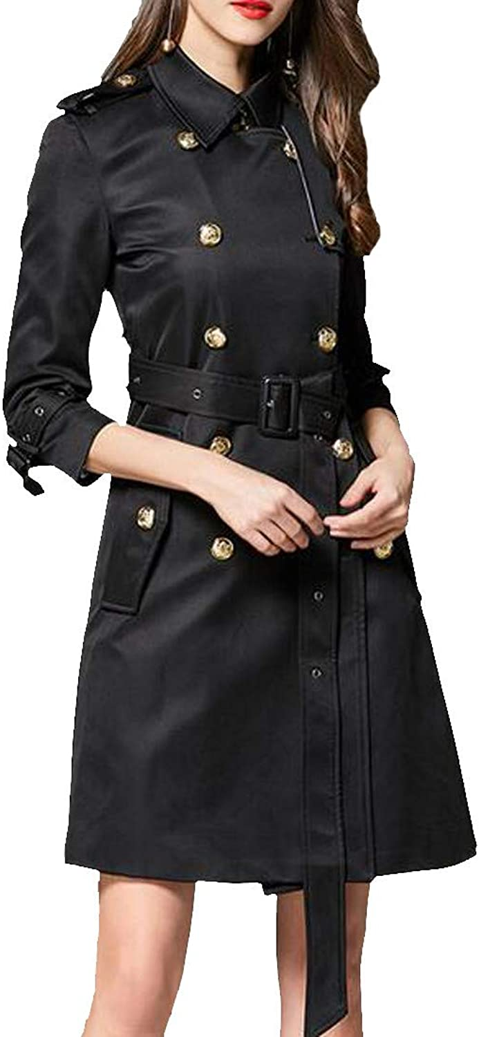 Wopop Womens Classic Lapel Belted Double Breasted Overcoat Trench Coat
