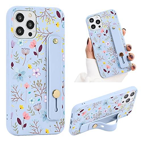 ZhuoFan Telefono con Supporto Cinturino Cover per Samsung Galaxy A12 6,5 Pollice, Custodia Silicone con Disegni TPU Morbido Antiurto Cases Protettiva per Samsung A12 da Polso in Morbido,Fiore 2