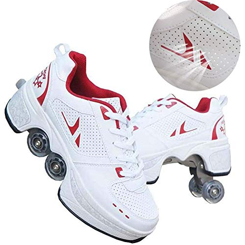 shoes with wheels for adults Wedsf Roller Shoes Retractable Deformation Roller Skating Skates Pulley Shoes Multifunctional Quad Skating Outdoor Sports Adults Child