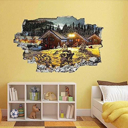 Pegatinas de pared Luces de Navidad Invierno Nieve Arte de la pared Pegatinas Mural Calcomanía Decoración para el hogar Póster Arte 3D Mural 50x70cm