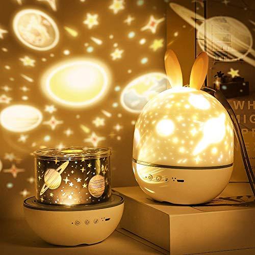 Tdbest Sternenhimmel Projektor Lampe, 6 Projektionsfilmen/4 Lichteffektmodi/360 ° Drehbar Musik Nachtlicht Kinder Baby Sterne Lampe mit Bluetooth & Timer für Kinder Erwachsene Zimmer Dekoration (Hase)