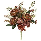PHAREGE Vintage Silk Peonies and Hydrangea Artificial Fake Flowers, 1 Faux Peony and Hydrangeas Flower Arrangement Bouquet with Stems