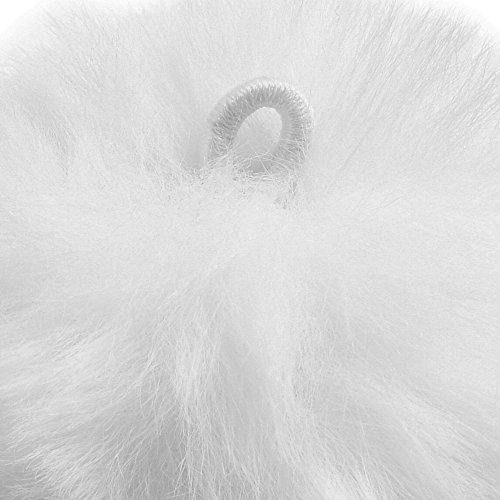 BCP 10pcs White Color Artificial Rabbit Fur Pom Pom Ball for Handbag Pendant Key Ring Decoration (2-3/4inch)