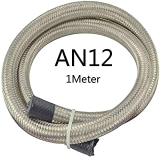 Car Oil Cooler Hose Pipe AN4-AN12 1M Universal Racing Hose Line Double Stainless Steel Braided Oil Fuel Line (Color : Silv...