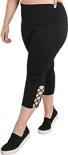 Nikibiki Women's Plus Size Side Criss Cross Capri for Soft Seamless Premium Yoga Athleisure Everyday Pants - Made in USA