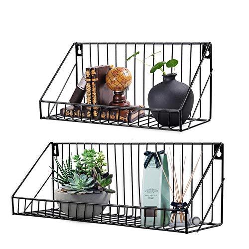 AGSIVO 2er Set Wandregal Schweberegal mit Metallgitter Aufbewahrungsregale Gestelle anzeigen für Bücher CDs und Dekostück beim Wohnzimmer Schlafzimmer und Büro (Schwarz)